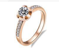 ingrosso gioielli per timbri-Trasporto di goccia Moissanite Diamond Engagement Ring Fine 18k Rose gioielli in oro massiccio Anelli per le donne AU750 all'ingrosso timbrato