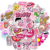 mädchen aufkleber für autos großhandel-50Pcs PVC wasserdichte Mädchen Kawaii rosa Spaß-Aufkleber Spielzeug Gepäckaufkleber für Automobil-Koffer Mode Laptop-Abziehbild-Aufkleber