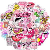 Wholesale kawaii car resale online - 50Pcs PVC Waterproof Girls Kawaii Pink Fun Sticker Toys Luggage Stickers for Motor Car Suitcase Fashion Laptop Decals Stickers
