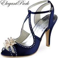 синие свадебные сандалии оптовых-Лето женщины туфли на высоком каблуке темно-синий розовый горный хрусталь жемчуг лодыжки ремень атласная невесты дамы свадебные сандалии EP11058