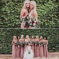gül kurusu toptan satış-2019 Tozlu Gül Pembe Gelinlik Modelleri Sevgiliye Dantelli Şifon A-line Uzun Hizmetçi Onur Elbise Düğün Parti kıyafeti Artı Boyutu Plaj BM0149