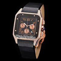 relógios unisex de quartzo preto venda por atacado-Novo 39mm W2020003 Two Tone Rose Gold Diamond Moldura Mostrador Preto Miyota Quartz Chronograph Mens Womens Unissex Relógios De Couro Relógio CAB351