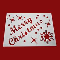 Wholesale white christmas sprays for sale - Group buy Merry Christmas New Year Spray Pattern Santa Snowflake Window Christmas Ornaments Decoration Snow Template