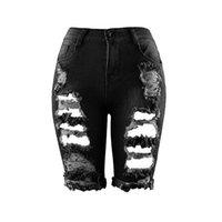 ingrosso jean stile sottile-Nuove donne a vita alta con risvolto Mezza strappato Jeans Europa Style Personality Fashion Street Holes Stretch Pant Denim Jeans strappati sottili