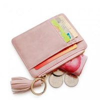 Wholesale cute pu purses online - Kids Card Bag Multifunctional Coin Purse Children Girl Baby Credit Cute PU Card Holder Purses with Simple Tassel Party Favor GGA1562