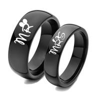 homens venda por atacado-Top quality fashion Mr / Mrs carta impressão casal anéis de aço inoxidável dos homens mulheres jóias casal anel de aço inoxidável RGA-152