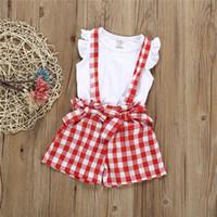 bebek zebra yelekleri toptan satış-Yaz bebek kız çocuk giyim Seti çocuk giyim beyaz Yelek üst + kafes şort yaylar Tulum 2 adet setleri çocuklar giysi tasarımcısı kızlar JY348