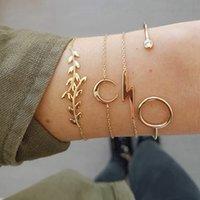 charmes de pomme d'or achat en gros de-4 Pcs Or Pour Apple interface Grass Moon Charme Bracelet Ensemble Pour Les Femmes Bracelets En Cristal De Mode Bijoux
