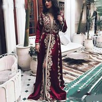 Wholesale formal red carpet for sale - Group buy Burgundy Moroccan Kaftan Evening Dresses Long Sleeves Lace Appliques Muslim Split Front Arabic Muslim Special Occasion Formal Party Gowns