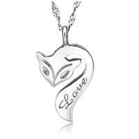 Wholesale 925 sterling silver fox necklace resale online - Fox Pendant Necklace Sterling Silver Fire Fox Necklace Love Charm Pendant Enamel Bronze Jewelry For Women Wedding Party