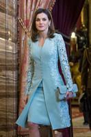 até mesmo vestidos no reino unido venda por atacado-Elegante Ao Ar Livre Mãe De Vestidos De Noiva Ternos Curtos de Duas Peças de Manga Longa Azul Do Noivo Vestido Da Mãe Para O Casamento Do Laço Uk Árabe vestido de Noite