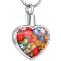 flores conmemorativas al por mayor-KLH8427 Free Plastic Funnel! Murano Glass Flower Heart Pendant Urn Necklace Memorial Keepsake Cremation Ashes Jewelry