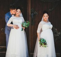 свадебные платья для беременных оптовых-2019 осень половина рукава материнства платья с жемчужиной шеи кружева талии длиной до пола, свадебные платья для беременных на заказ