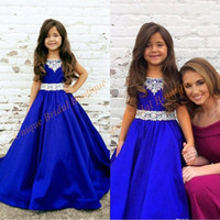 Wholesale pink sash teen dress for sale - Group buy 2020 Pageant Dresses for Teens Custom Made with Beaded Neck and Floor Length Royal Blue Satin Ball Gown Pageant Dresses for Girls size