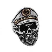 gemi çapa halkaları toptan satış-Ücretsiz kargo Vintage Donanma Kaptan Kafatası Yüzük Paslanmaz Çelik Takı Punk Çapa Donanma Askeri Ordu Biker Erkek Yüzük 891B