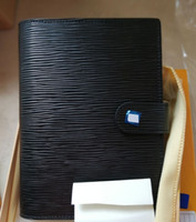 Wholesale leather pocket notebooks resale online - Black EPI cow leather water ripple Small Notepad pocket notebook card passport holder meeting record book cm