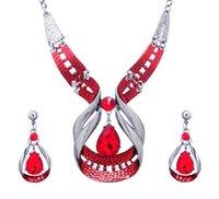 sistemas de la joyería de cristal de la boda al por mayor-Conjunto de joyas de dama de honor para bodas Conjuntos de joyas Plateado 18k Plateado Collar de esmalte de cristal austriaco Pendientes Joyas para fiestas