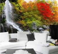 ingrosso sfondo della parete di foresta-dimensione personalizzata 3d foto wallpaper soggiorno murale Cascata Rock Forest Scenario 3d immagine divano TV sfondo carta da parati non tessuto wall sticker