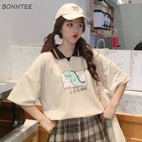 camiseta mujer estilo coreano al por mayor-Camisetas de estilo coreano de moda suelta de todo el partido transpirable ocio de alta calidad cómodo cuello de vuelta estudiantes chicas