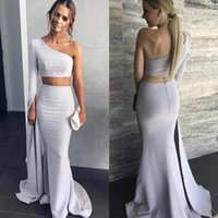 9e4c274bdc7 Wholesale 2 piece prom dresses for sale - Modest Two Piece Mermaid Prom  Dresses One Shoulder