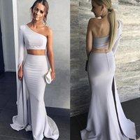 einteiler abendkleider großhandel-Modest Zweiteiler Mermaid Prom Dresses 2019 Schulter Lange Ärmel Satin Silber Mermaid Abendkleider