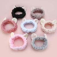 orejas de gato al por mayor-Lovely Elastic Cat Ears Headband Girls Maquillaje Lavado Cara Hairbands Elástico Turband For Spa Mask Accesorios para el cabello Headwrap