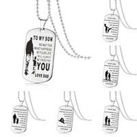 colar do filho da mamã venda por atacado-Aço inoxidável PARA MEU FILHO PARA Minha Filha colares Para Meninos Meninas Inspirado Carta dog tag Pingente de grânulos correntes Pai Mom Jóias Presente