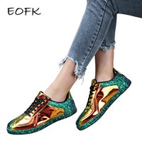 or brillant achat en gros de-EOFK Sneakers or Glitter Shinny bling Mode casual Chaussures oxford femme dame Ballerines Chaussures de sport Glossy Espadrilles T191024
