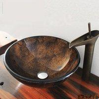 pia marrom venda por atacado-Art banheiro rodada embarcação de vidro Vanity Sink com acesso pop-up dreno cor marrom