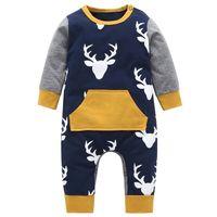 ingrosso abiti da sera-Autunno 2019 Pagliaccetti del bambino del neonato vestiti di cotone neonato bambino vestiti manica lunga Deer testa infantile neonato tuta abiti