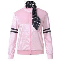 jaqueta de cetim de poliéster venda por atacado-Costume Jacket Womens Ladies Zipper Danny Pink Ladies cetim com revestimento das bolinhas Mulheres de poliéster lenço Harajuku # 30