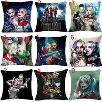 travesseiro de ruffle branco venda por atacado-Harley Quinn Coringa Joker Fronha Home Decor Praça Joker Cotton Linen Fronha 18 Polegadas Sofá Fronha