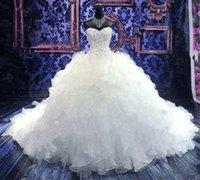 ballkleid hochzeitskleid abgestuft großhandel-2020 neue Sexy Ballkleid Brautkleider Schatz mit Spitze Appliques Perlen Ärmelloses Korsett Zurück Organza Tiered Plus Size Brautkleider