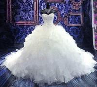 бальное платье свадебное платье tiered оптовых-2020 новый сексуальный бальное платье Свадебные платья милая с кружевными аппликациями бусины без рукавов корсет обратно органза многоуровневая плюс размер свадебные платья