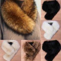 bufanda de zorro al por mayor-Cuello de piel de zorro de imitación bufanda Mullido invierno Abrigo de mantón cálido Cuello robado Bufandas Chic