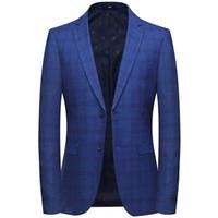 erkekler şık blazerler toptan satış-Marka Blazer Erkekler 2019 Yeni Varış Erkek Slim Fit Blazer Ceket Kore Şık Tek Düğme Erkekler Suit Kostüm Veste Homme