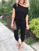 kadın için tek parça pantolon toptan satış-Yaz Moda Kadın Kapalı Omuz Uzun Tulumlar Clubwear Parti Tek parça Tulumlar Sonbahar Tulum Bayanlar Cepler Pantolon