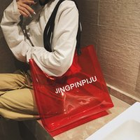 Wholesale transparent plastic shopping bags for sale - Group buy New Women S Transparent Letter Shoulder Bag Large Capacity Handbag Female Fashion Jelly Beach Bag Shopping Handbag Plastic