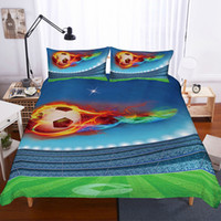 Wholesale boys queen sized bedding online - 3d Football Printing Bedding Set Queen Size Luxury Sport Quilt Cover King Size Kids Boy Bed Set Drop Shipping