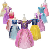 Wholesale cute purple party dresses resale online - Girls Dresses Party Princess Dresses With Cute Bow For Kids Summer Clothing colors for choose Baby Girl Princess Dress Kids Designer Skirt