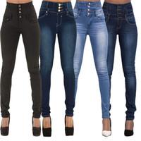 yüksek belli seksi kot pantolon toptan satış-Sonbahar Seksi Skinny Jeans Kadınlar Yüksek Waisted Stretch Slim Fit Denim Pantolon Düz Skinny Jeans Siyah Açık Mavi S-2XL Denim