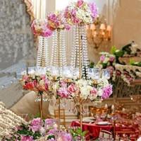 große kerzen großhandel-Neue stil hoch Hohe 5 Arme Kristallkandelaber Hochzeit Kandelaber Mit Blume Schüssel Metall Kerzenständer Party Event Decor382