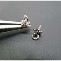 925 stering silber großhandel-925 stering silber endmuster blume perlen kappe verbindung pin regenschirm anhänger kopf 4mm 20 stücke für die herstellung von schmuck zubehör