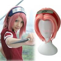 Wholesale sakura haruno cosplay for sale - Group buy Anime Hokage Naruto Ninja Haruno Sakura Cosplay Wig Short Pink Hair Full Wig