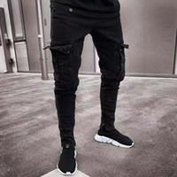siyah rip kot toptan satış-19SS Erkek Tasarımcı Kot 2019 Bahar Siyah Sıkıntılı Delikler Ripped Tasarım Jean Kalem Pantolon Cepler Hommes Pantalones