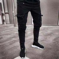 ingrosso jeans disegna tasca-19SS Mens Designer Jeans 2019 Spring Black Ripped Distressed Holes Design Jean Pencil Pantaloni Tasche Hommes Pantalones