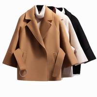 costela cinturão venda por atacado-Outono Inverno Mulheres Curto Casaco De Lã 2019 Cinto Jaqueta Feminina Raglan Mangas Casaco Casaco Elegante Botão Único Preto Camelo Novo