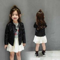 jaquetas de couro para crianças venda por atacado-Quente revestimento do revestimento Baby Kids Meninas PU Leather Jackets Outfits New Outono-Inverno Crianças Moda manga comprida Cipper Locomotive Outwear Clothin