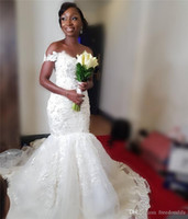 Wholesale custom made wedding dresses nigeria resale online - Sexy Mermaid African Wedding Dresses Off Shoulder Vintage Lace D Floral Black Girls Nigeria Arabic Country Plus Size Bridal Gowns