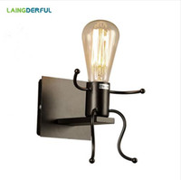lámparas de noche de metal negro al por mayor-Vintage Metal Lámparas de pared LED Dormitorio creativo Luces de pared de cabecera 1/2 cabezas Decoración industrial Negro / Blanco / Rojo Hierro Wandlamp